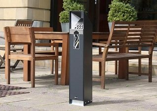 Glasdon, Inc. free standing Ashguard cigarette butt and ash receptacle for smoking areas