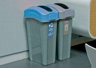 Glasdon, Inc. Eco Nexus 16G recycling bins with decals for mixed reycling and trash