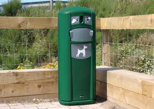 Glasdon, Inc. Retreiver City pet waste station with integrated dog bag dispenser