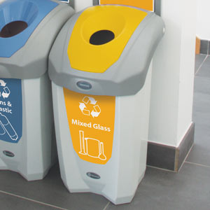 Nexus 8G Mixed Glass Recycling Bin with lab friendly customized graphics