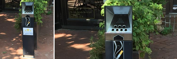 Cigarette butt containers for Capitol Hill