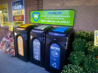 Personalized Nexus 64G Recycling Containers outside Food Lion