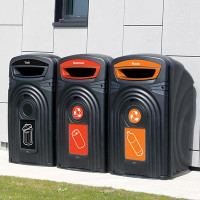 Trio of Nexus 96G recycling bins insitu