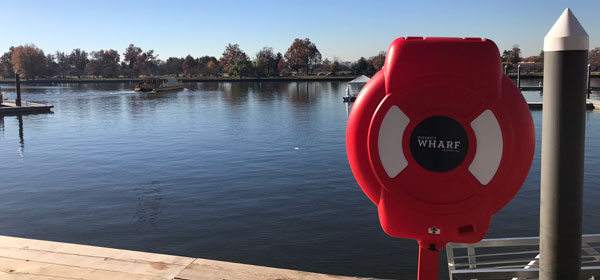Glasdon Guardian™ Life Ring Cabinet mounted by the waterfront at District Wharf, Washington