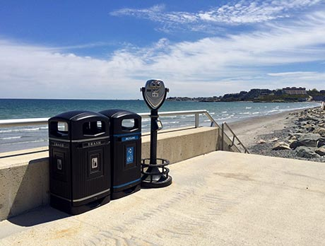 Glasdon Jubilee 29G recycling and trash containers are keeping Nantasket Beach beautiful