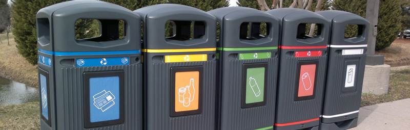 Mixed range of Glasdon Jubilee Recycling Bins
