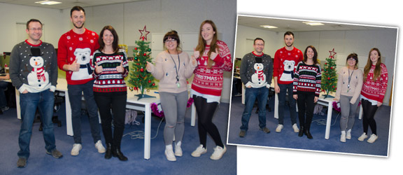 Glasdon employees in Christmas sweaters