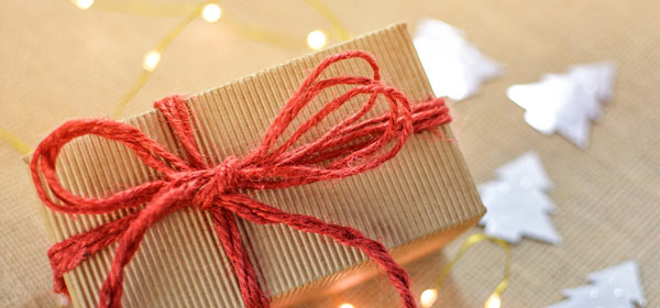 Card and String Gift Wrapped Christmas Present