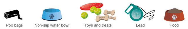 Dog poo bags, Water Bowl, Treats & Toys, Leads, Food Bowl - Pet friendly amenities