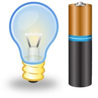 Light bulb and battery graphics