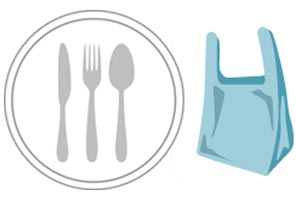 Plastic cutlery and plastic bag graphics