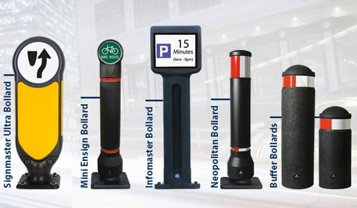 Glasdon Range of Bollards side-by-side