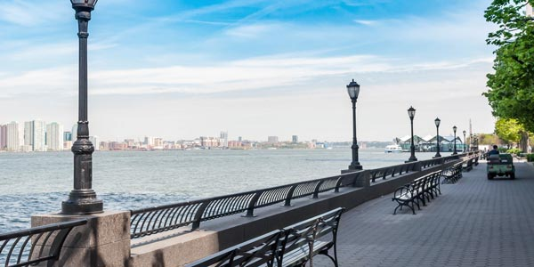 Battery Park City esplanade with waterfront views