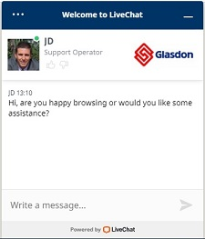 Glasdon Live Chat Facility - speak to an expert