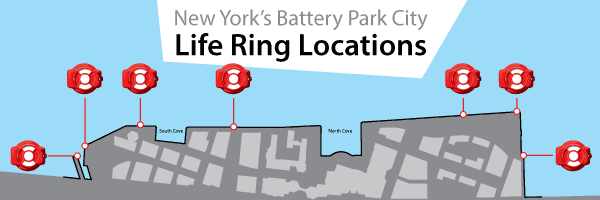 Map of Guardian Life Ring Cabinet locations at Battery Park City