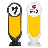 Signmaster Ultra Bollard in Black and White - retroreflective