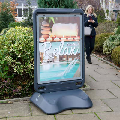 Sidewalk poster display stand leisure site