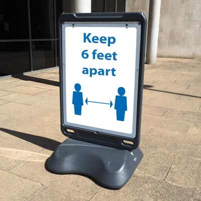 Advocate™ Social Distancing Poster Display Sign Free-Standing PPE Signage / Social Distancing Sign Holder