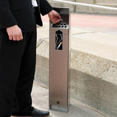 Stainless steel Ashguard cigarette unit in use