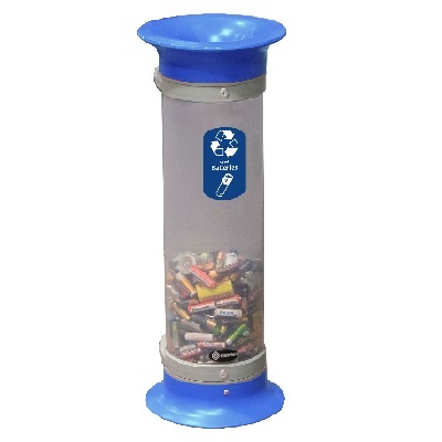 Express C-Thru™ 10Q Battery Recycling Tube - 3 Colors With Funnel Aperture & Recycling Decal