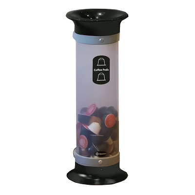 Express C-Thru™ 10Q Coffee Pod Collection Bin - Black With Funnel Aperture & Recycling Decal