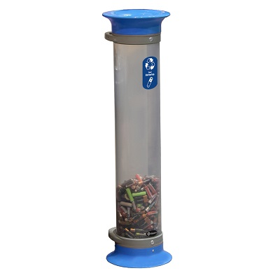 Express C-Thru™ 15Q Battery Recycling Tube - 3 Colors With Funnel Aperture & Recycling Decal