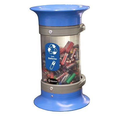 Express C-Thru™ 5Q Battery Recycling Bin - 3 Colors With Funnel Aperture & Recycling Decal
