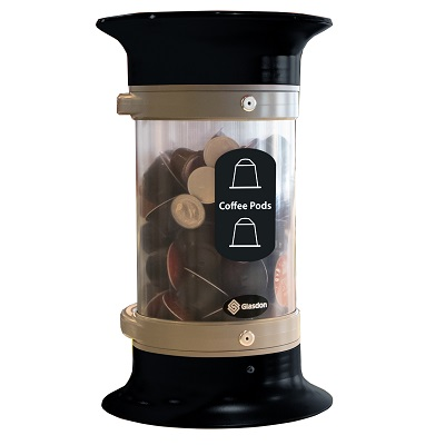Express C-Thru™ 5Q Coffee Pod Collection Bin - Black With Funnel Aperture & Recycling Decal