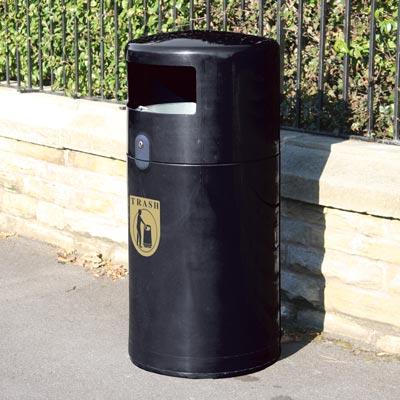 Community Trash Can With U0027Trashu0027 Decal