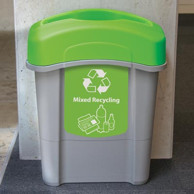 Eco Nexus® 16G Mixed Recyclables Recycling Container with lime green lid and graphics