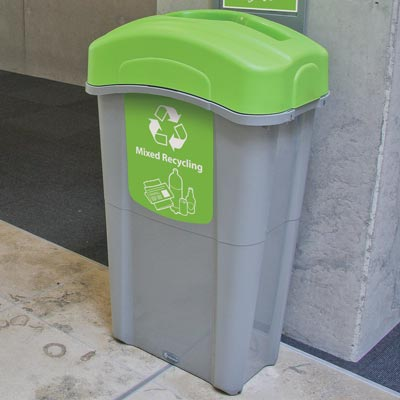 Eco Nexus® 23G Mixed Recyclables Recycling Container with lime green lid and graphics