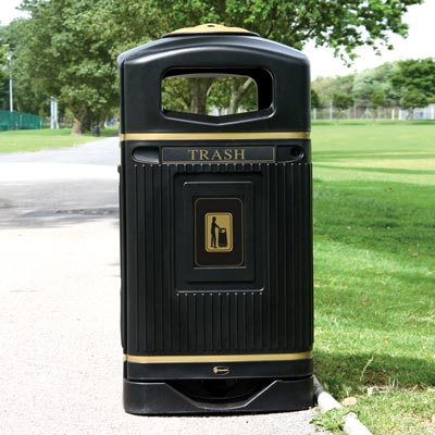 Glasdon Jubilee 29G trash can in black with optional hood mounted ashtray