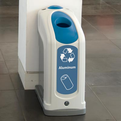 Nexus® 13G Can Recycling Bin with blue aperure and graphics