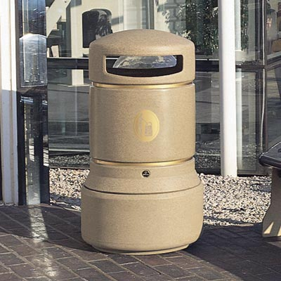 Neopolitan trash can in Sandstone with Banding