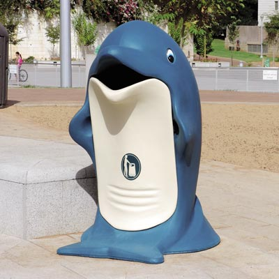 Splash dolphin trash container
