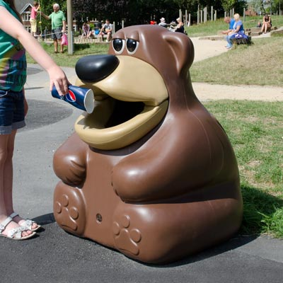 TidyBear™ Animal-Shaped Trash Can 14 Gallon Playground Trash Receptacle