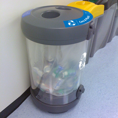 C-Thru™ Can & Plastic Recycling Bin with blue graphics