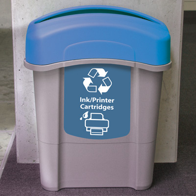Eco Nexus® 16G Ink/Printer Cartridges Recycling Container with blue lid and graphics