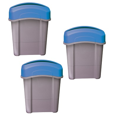 Express Pack of 3 Eco Nexus® 16G Receptacles - Gray or Blue 3 x 16-Gallon Bins With Trash or Recycling Decal Packs Included