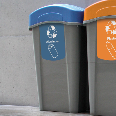 Eco Nexus® 23G Can Recycling Container with blue lid and graphics