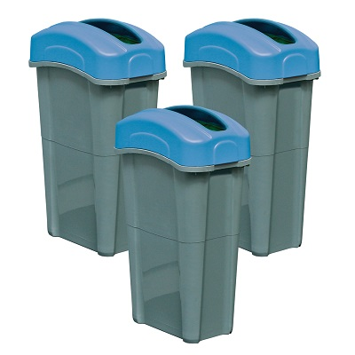 Express Pack of 3 Eco Nexus® 23G Bins - 3 Sticker Options 3 x 23-Gallon Receptacles With Trash or Recycling Decal Packs