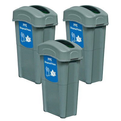 Express Pack of 3 Eco Nexus® 23G PPE Waste Bins 3 x 23-Gallon PPE Receptacles with Lids & Decals