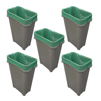 Express Pack of 5 Eco Nexus® 23G Open Top Bins - 3 Sticker Options 5 x 23-Gallon Receptacles With Trash or Recycling Decal Packs