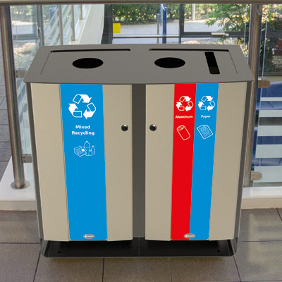 Electra™ 48 Gallon Trio Recycling Station