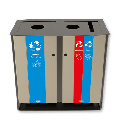 Electra™ Recycling Stations - 48 Gallon Recycle Bins