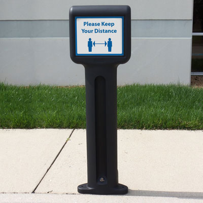 Infomaster™ Bollard with Social Distancing Sign
