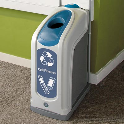 Nexus® 13G Cell Phones Recycling Bin with blue aperure and graphics