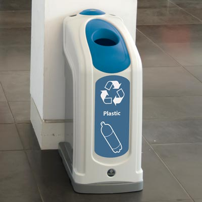 Nexus® 13G Plastic Bottle Recycling Bin with blue aperure and graphics