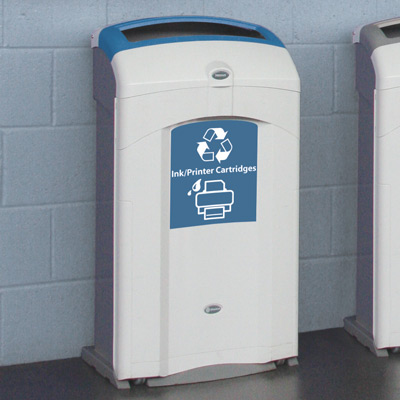 Nexus® 26G Ink/Printer Cartridges Recycling Bin with blue aperture and graphics