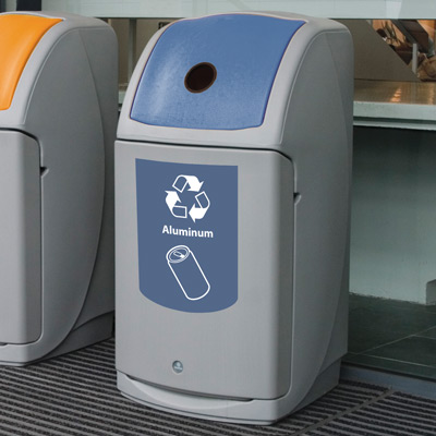 Nexus® 36G Can Recycling Bin with blue aperure and graphics